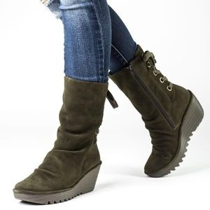 FLY London Yada Suede Tie Back Wedge Boots Brown